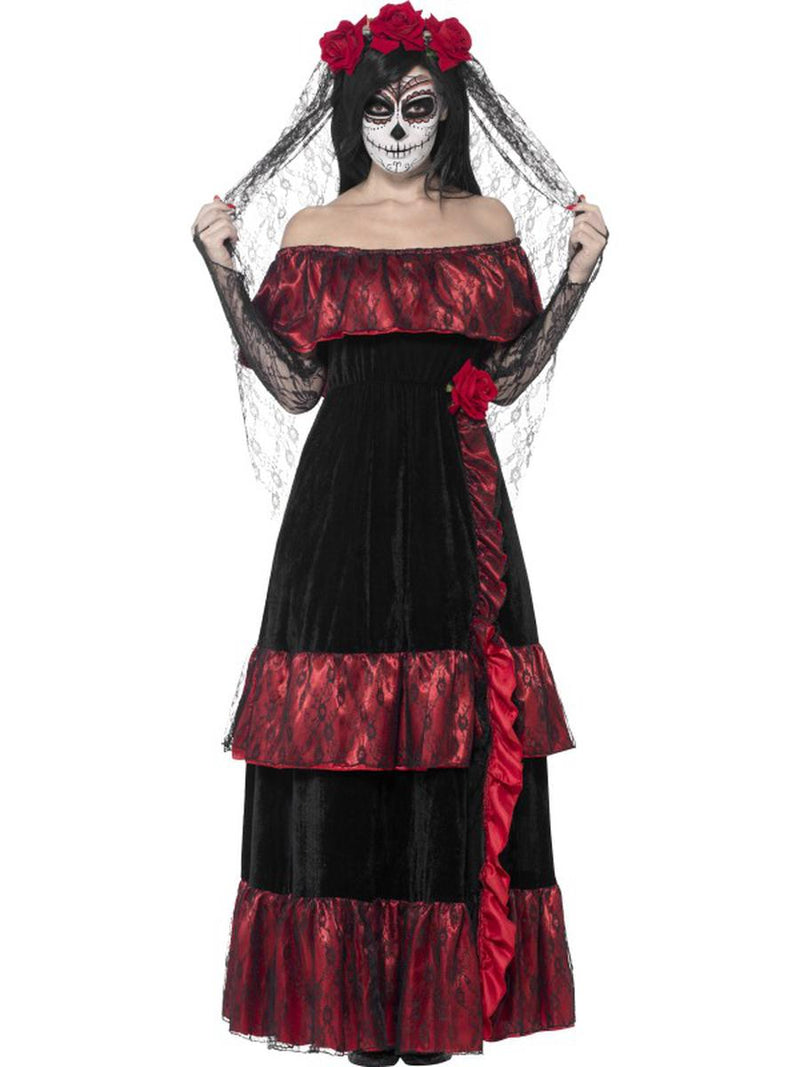 2-PC-Skeleton-Sugar-Skull-Day-of-the-Dead-Bride-Dress-w/-Rose-Veil-Party-Costume