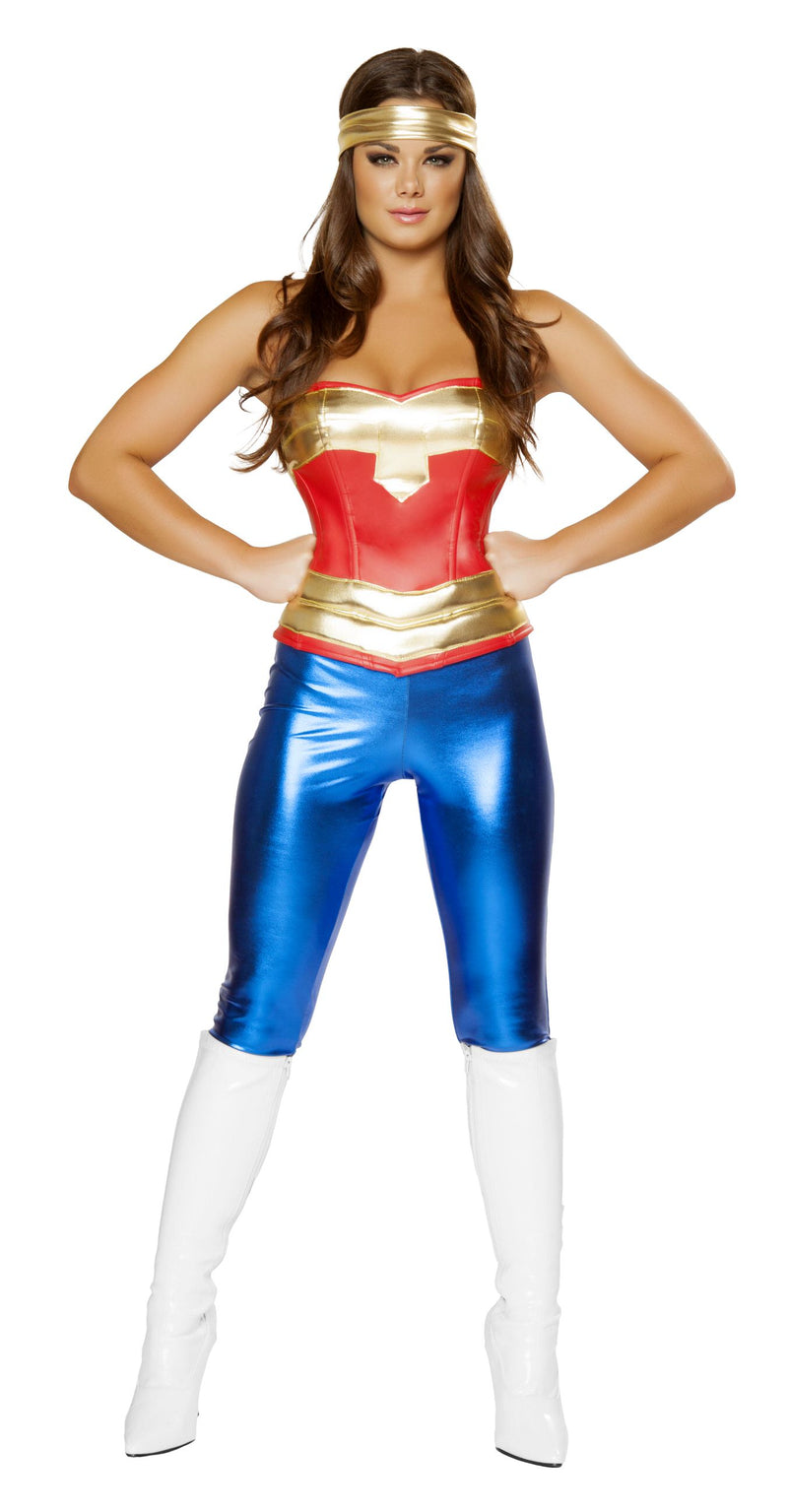 3-Piece-Sexy-Miss-Super-Girl-Wonder-Woman-Jumpsuit-Costume