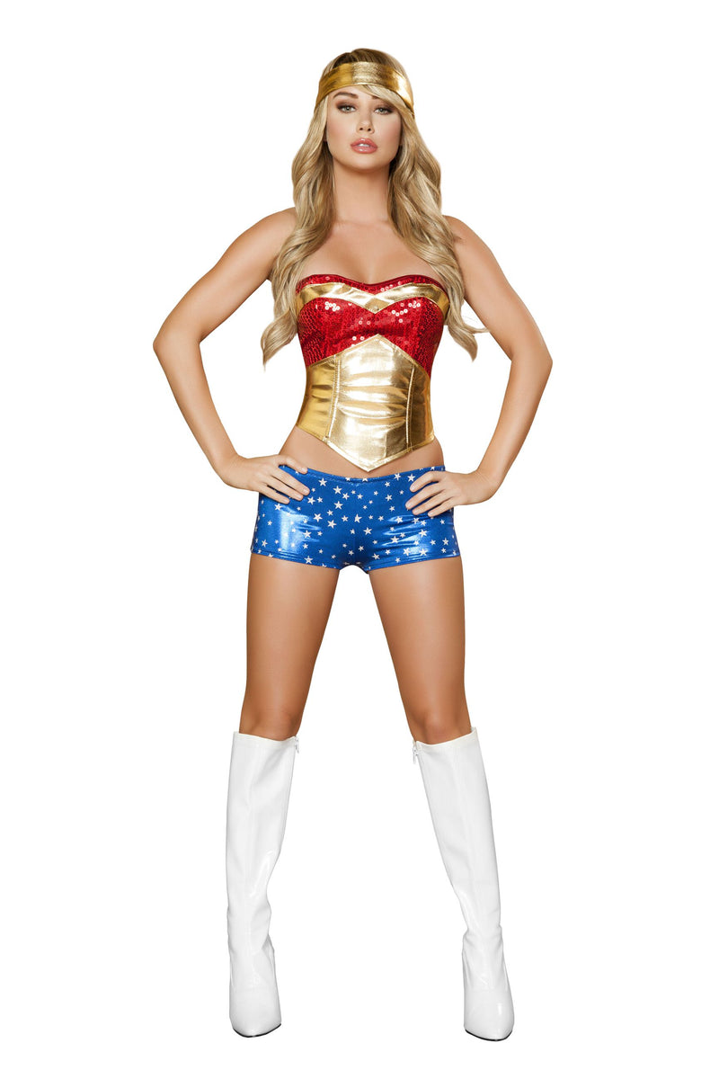4-Piece-Sexy-Miss-Super-Girl-Wonder-Woman-Top-&-Shorts-Costume