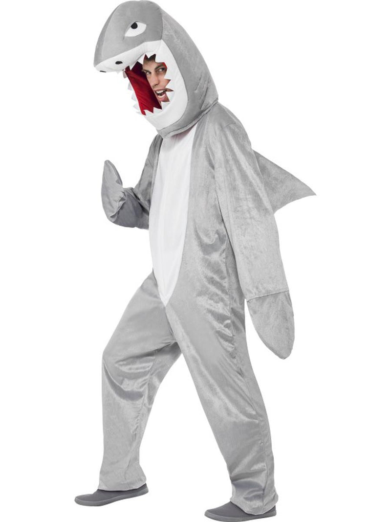 2-PC-Unisex-Great-White-Shark-Mascot-Like-Bodysuit-&-Open-Hood-Party-Costume