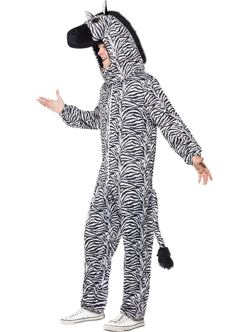 2 PC Unisex Zebra Mascot-Like Bodysuit & Open Hood Party Costume - Fest Threads