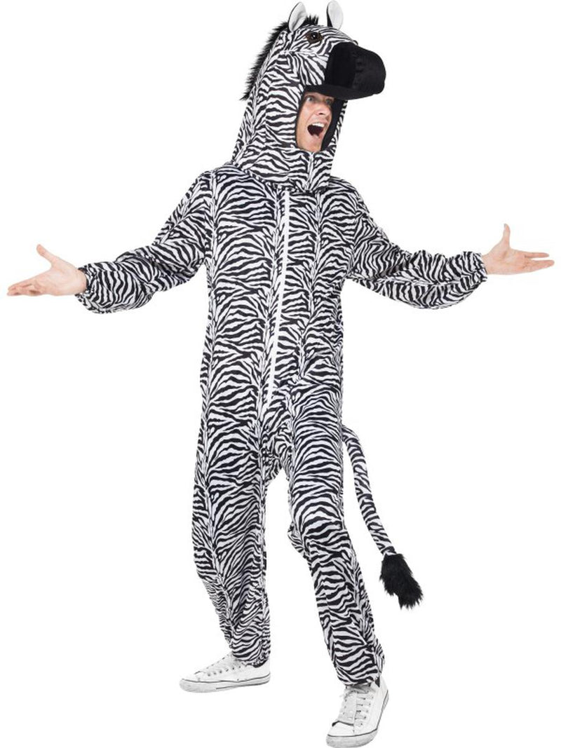 2-PC-Unisex-Zebra-Mascot-Like-Bodysuit-&-Open-Hood-Party-Costume