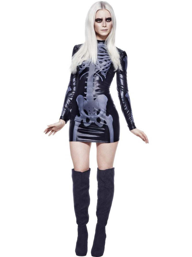 1-PC-Xray-Skeleton-Day-of-the-Dead-Black-Long-Sleeve-Mini-Dress-Party-Costume