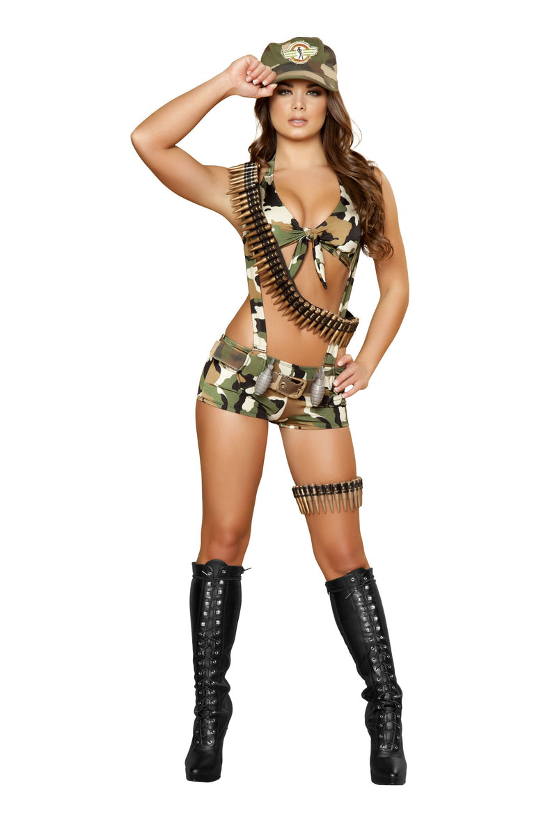 6-Piece-Army-Babe-Camo-Top-&-Shorts-w/-Accessories-Party-Costume-