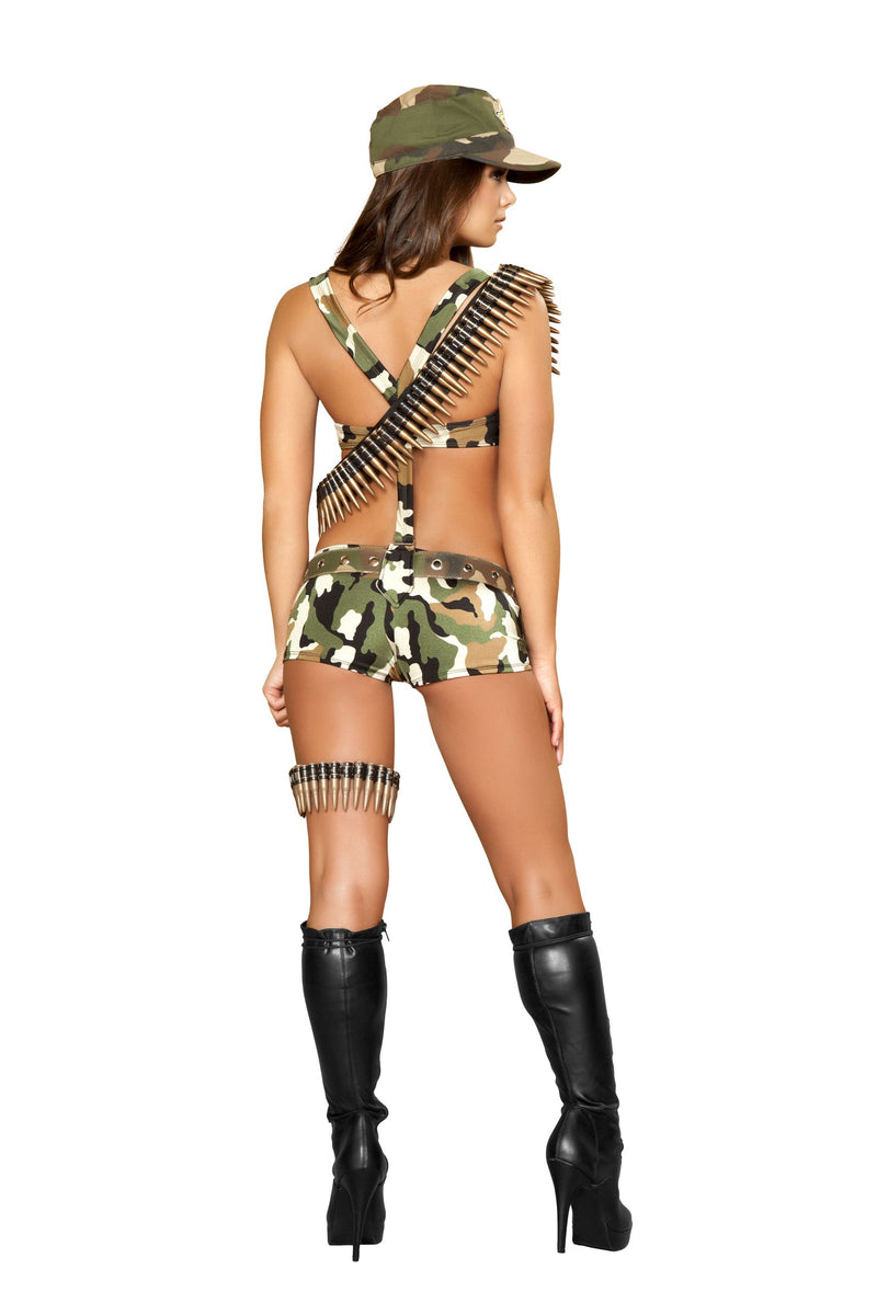 6 Piece Army Babe Camo Top & Shorts w/ Accessories Party Costume