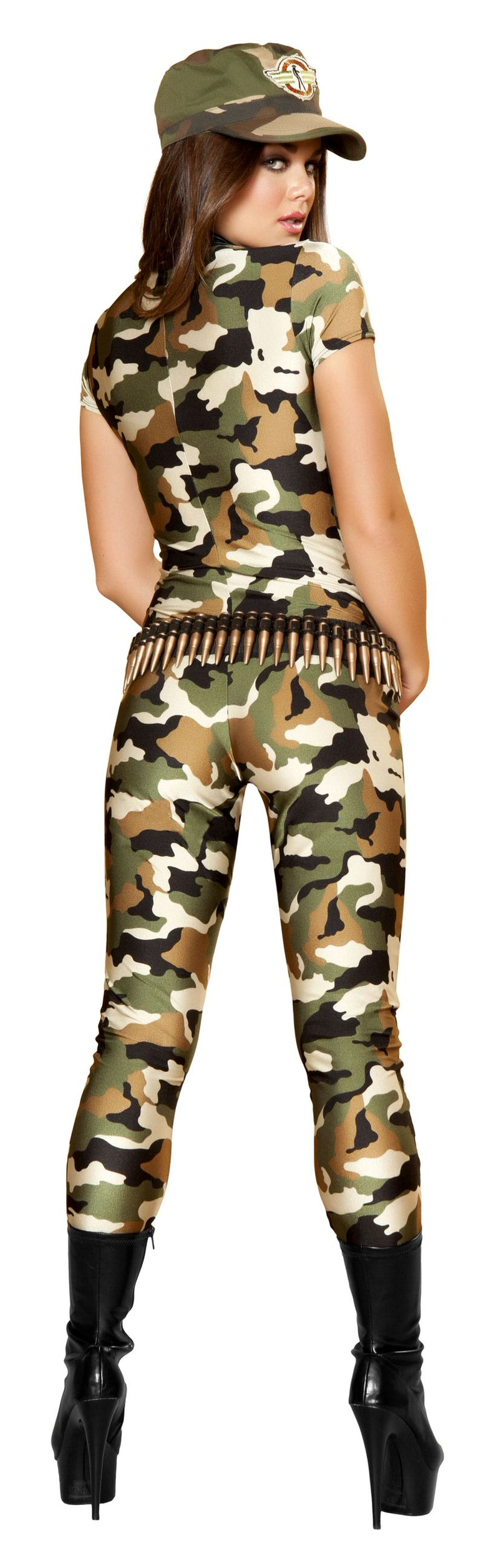 2 Piece Army Babe Camo Jumpsuit & Hat Party Costume - Fest Threads