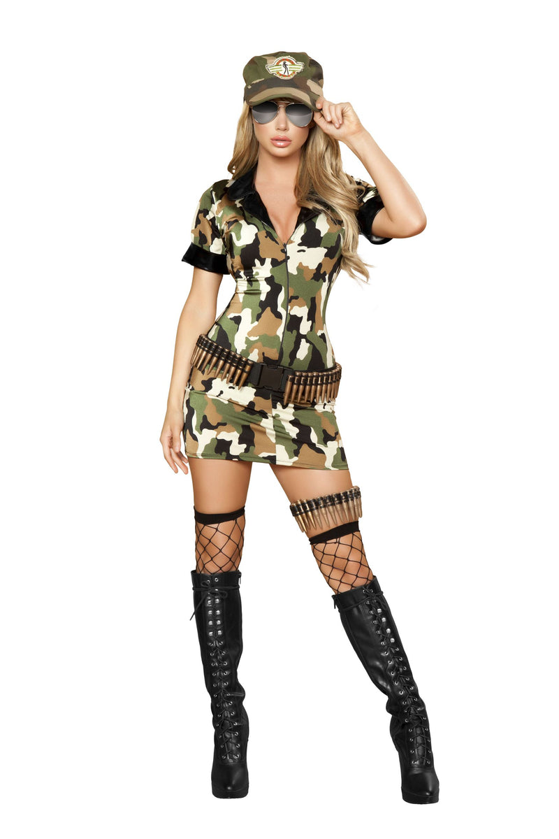 3-Piece-Army-Babe-Camo-Mini-Dress-w/-Accessories-Party-Costume-