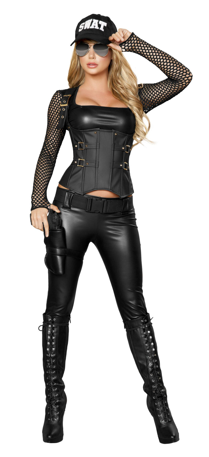 5-Piece-Sexy-SWAT-Officer-Top-Cincher-&-Pants-w/-Accessories-Party-Costume