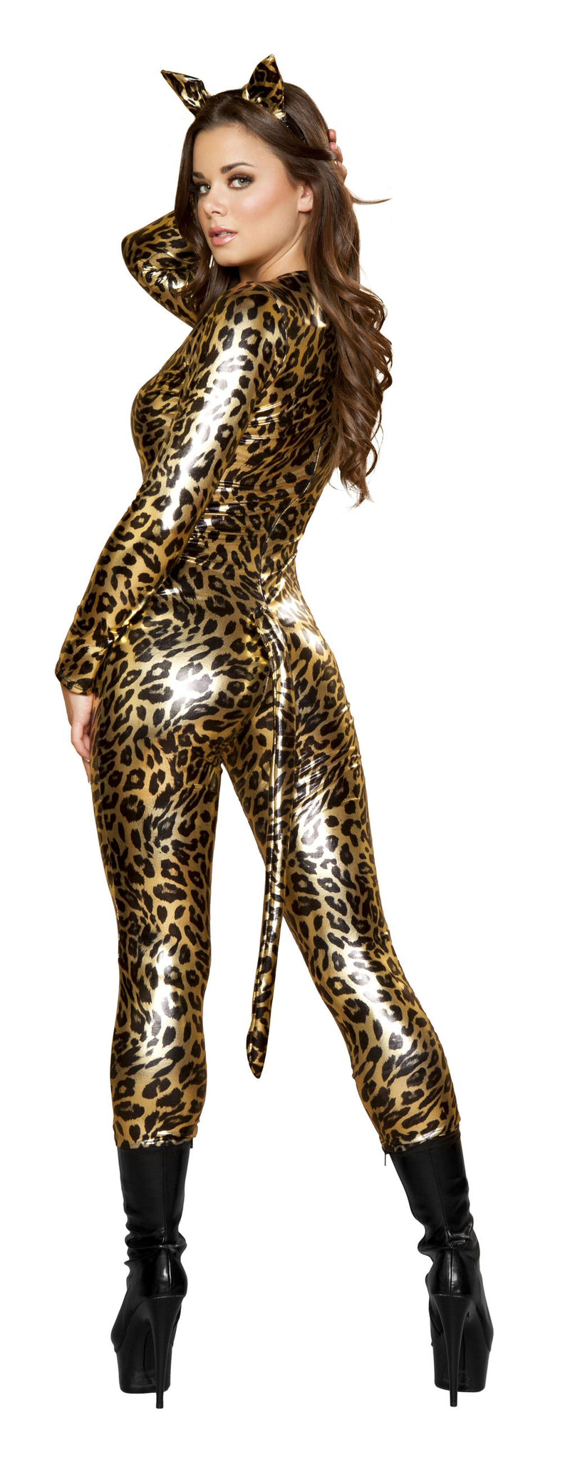 3 Piece Leopard Wild Animal Jumpsuit w/ Accessories Party Costume