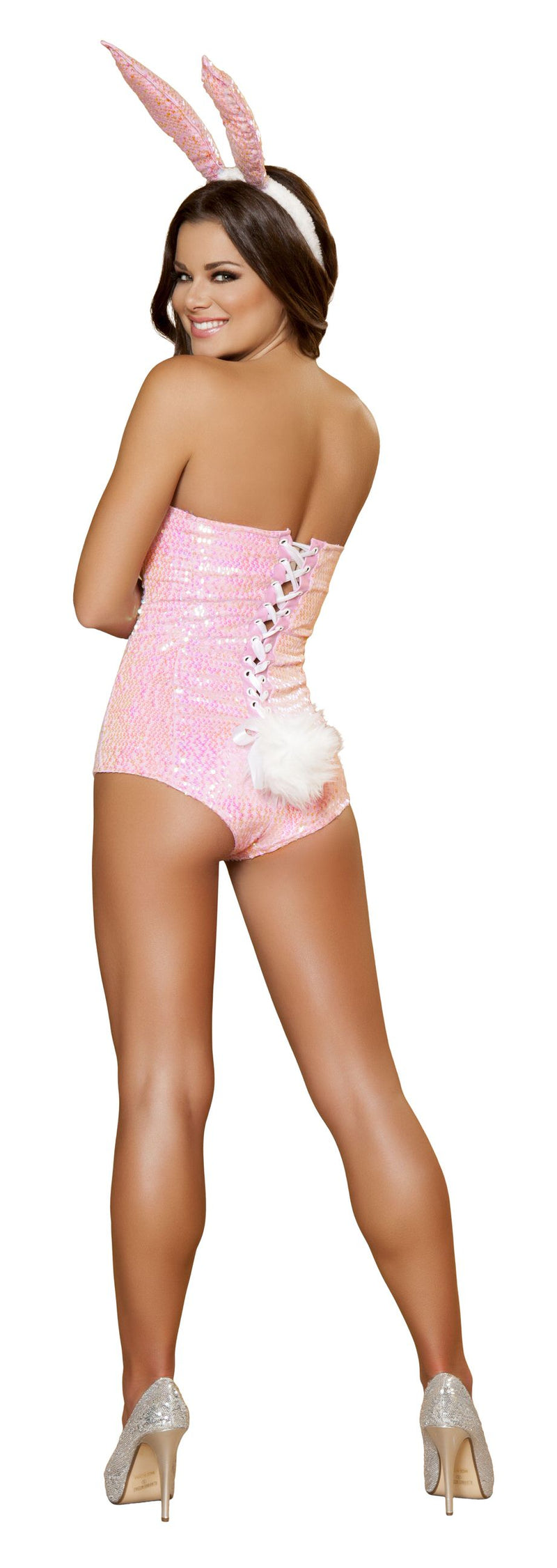 2 Piece Bunny Light Pink Sequin Romper & Ears Party Costume - Fest Threads