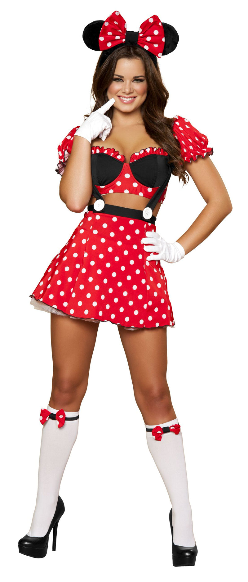 3-Piece-Miss-Mouse-Crop-Top-&-Skirt-w/-Ears-Headband-Party-Costume