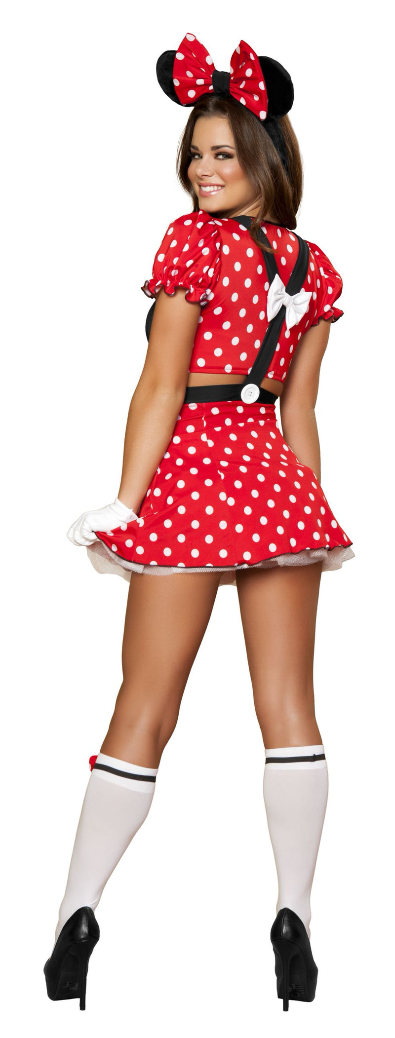 3 Piece Miss Mouse Crop Top & Skirt w/ Ears Headband Party Costume