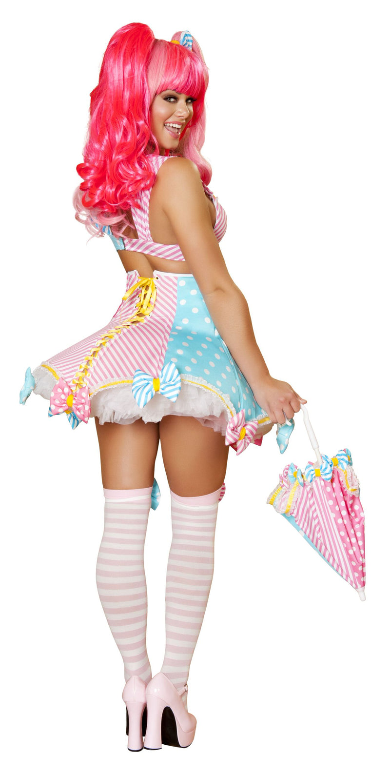 3 Piece Sexy Circus Clown Cotton Candy Dress Costume