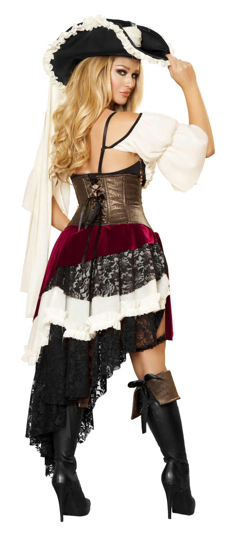 3 Piece Pirate Bra Top Cincher & Layered Skirt Party Costume - Fest Threads
