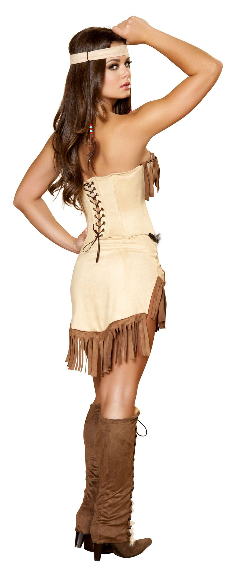 3 Piece Indian Princess Tan Fringe Fur Corset & Shorts Costume - Fest Threads
