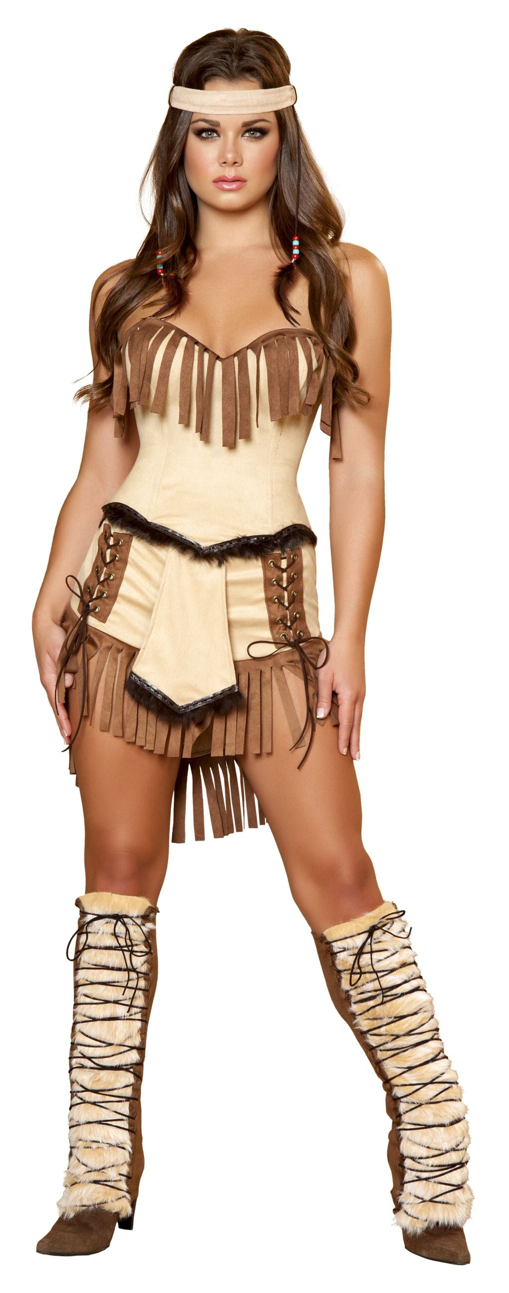 3-Piece-Indian-Princess-Tan-Fringe-Fur-Corset-&-Shorts-Costume