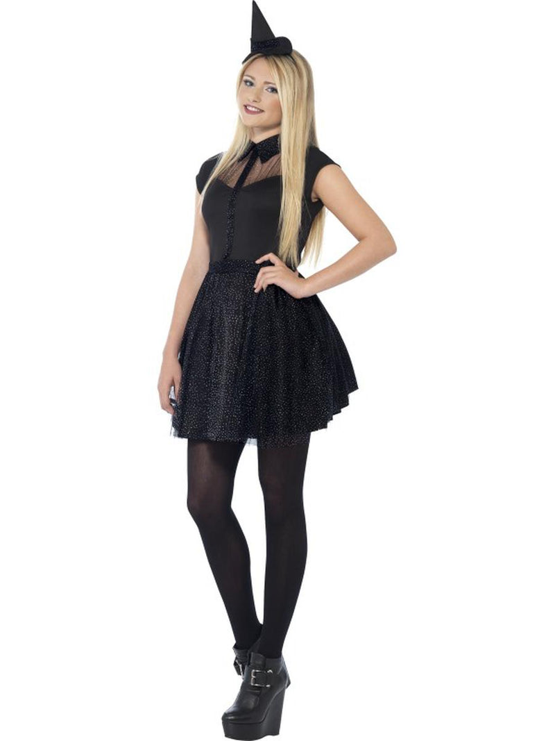 2-PC-Women's-Witch-Sorceress-Glitter-Black-Dress-w/-Mini-Hat-Party-Costume