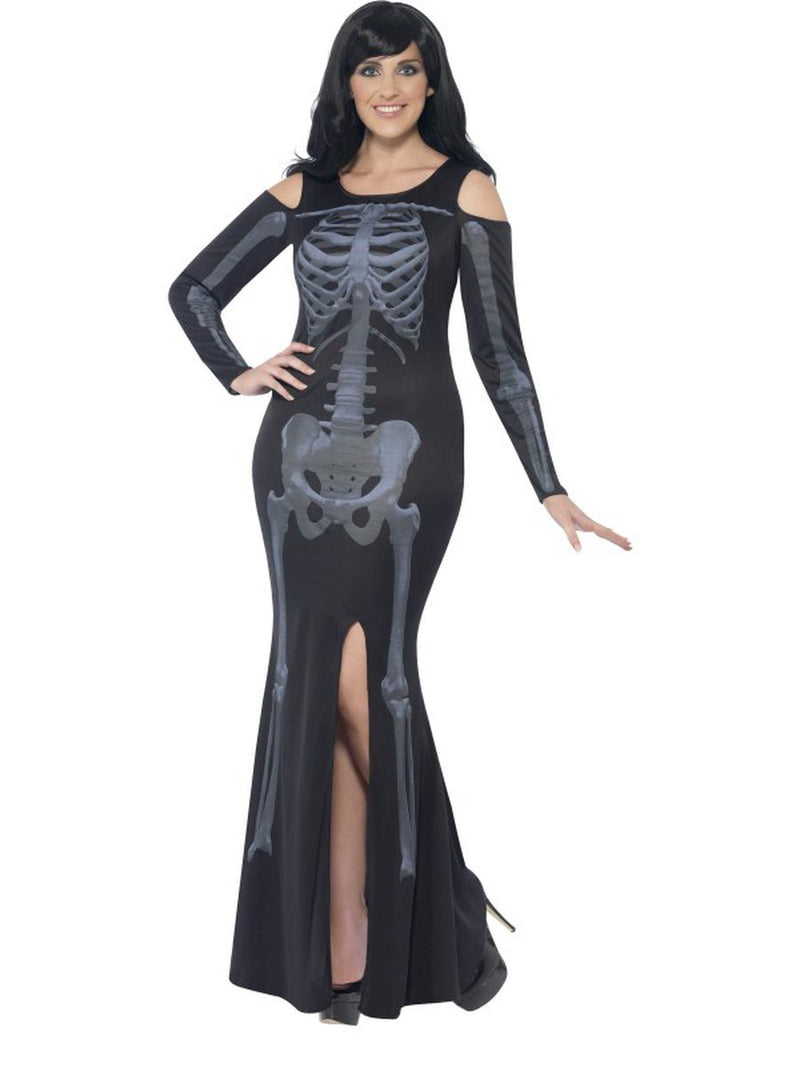 1-PC-Xray-Skeleton-Day-of-the-Dead-Black-Long-Sleeve-Maxi-Slit-Dress-Costume