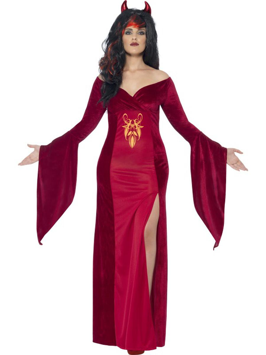 2-PC-Women's-Devil-Demon-Red-Slit-Maxi-Dress-w/-Horns-Party-Costume---Plus-Size