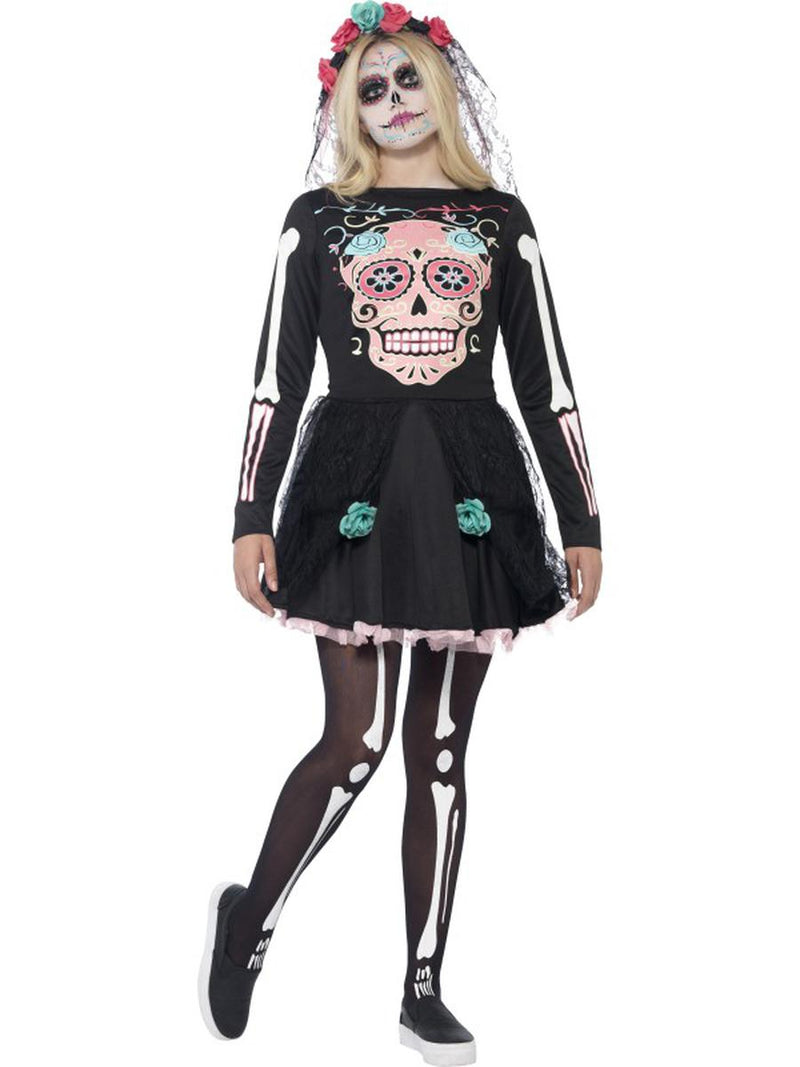 2-PC-Skeleton-Print-Black-&-White-Dress-w/-Headpiece-Day-of-the-Dead-Costume