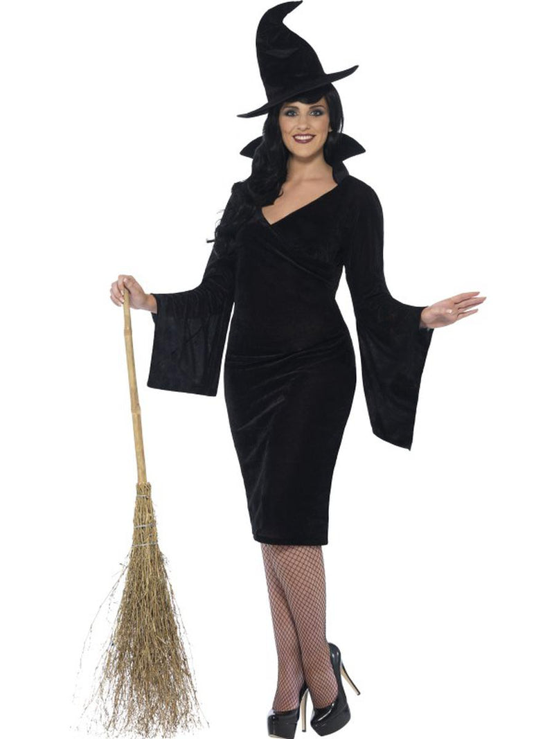 1-PC-Basic-Witch-Black-Midi-Dress-w/-Hat-Party-Costume---Plus-Size