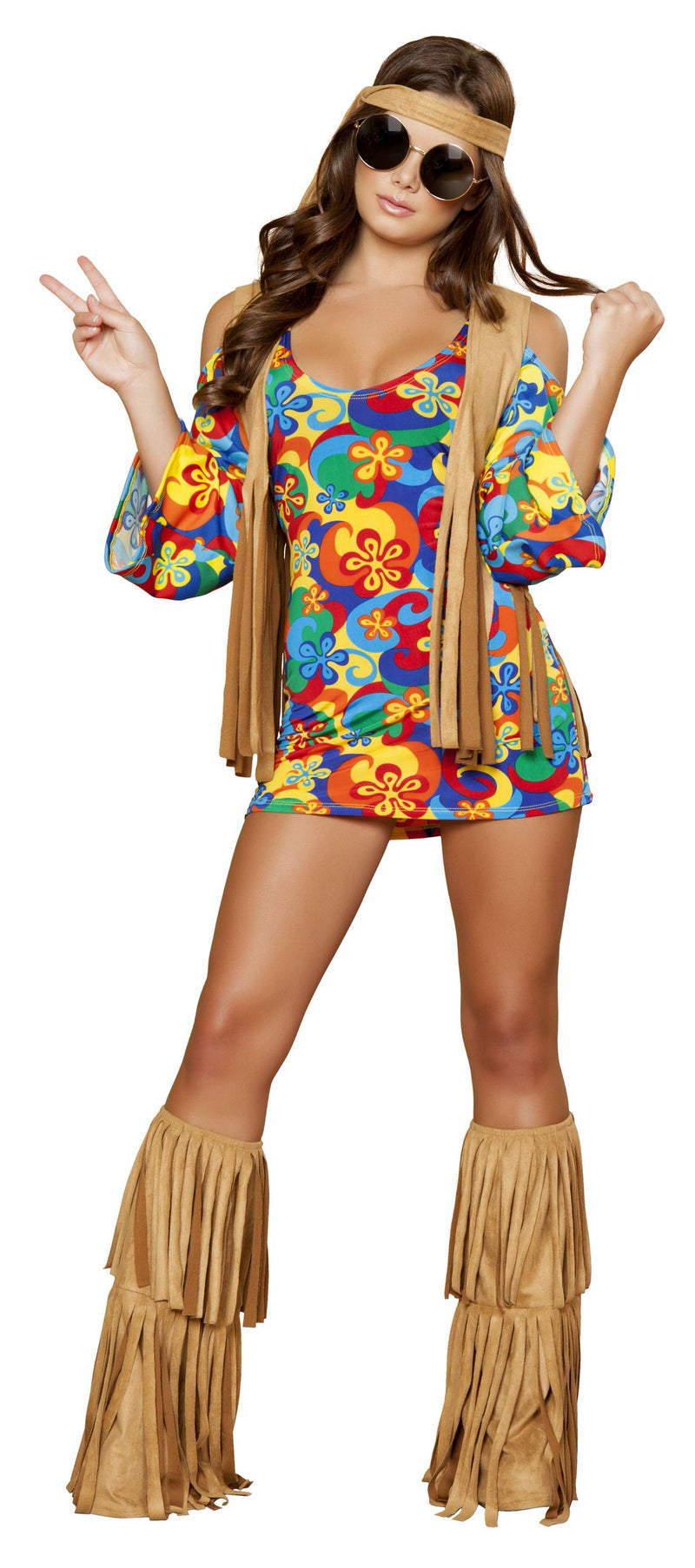 3-Piece-Hippie-Sexy-Flower-Child-Groovy-Mini-Dress-&-Fringe-Vest-Costume