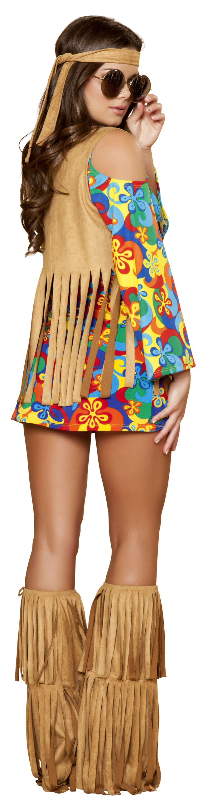 3 Piece Hippie Sexy Flower Child Groovy Mini Dress & Fringe Vest Costume
