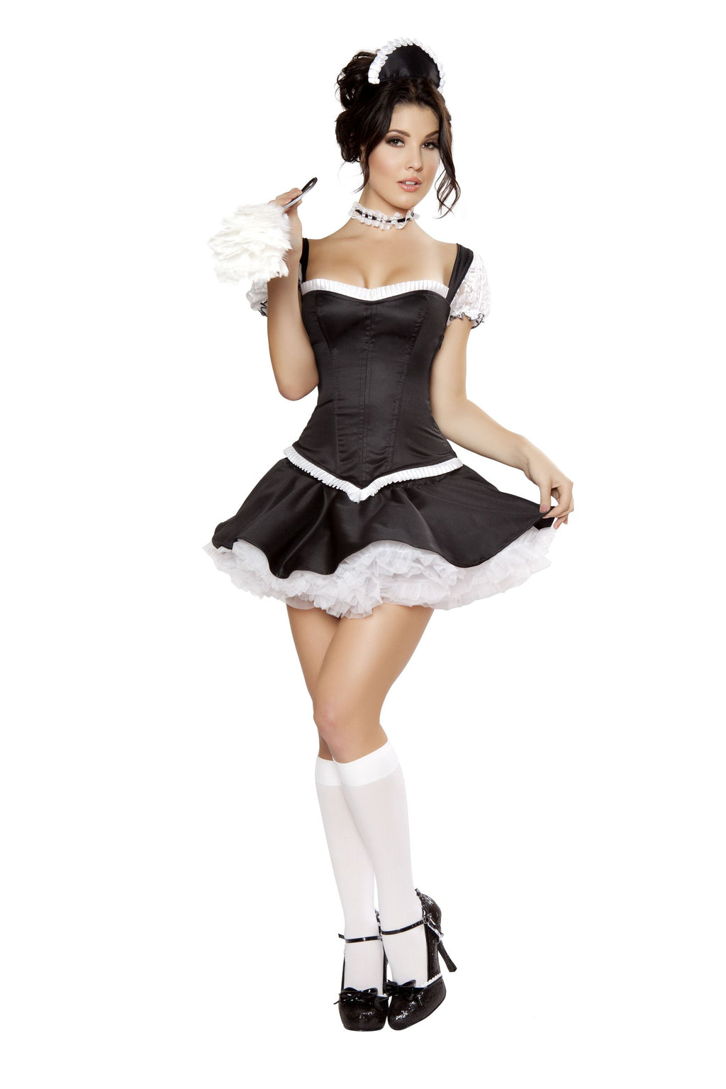 5-Piece-Naughty-French-Maid-Top-&-Mini-Skirt-w/-Accessories-Party-Costume