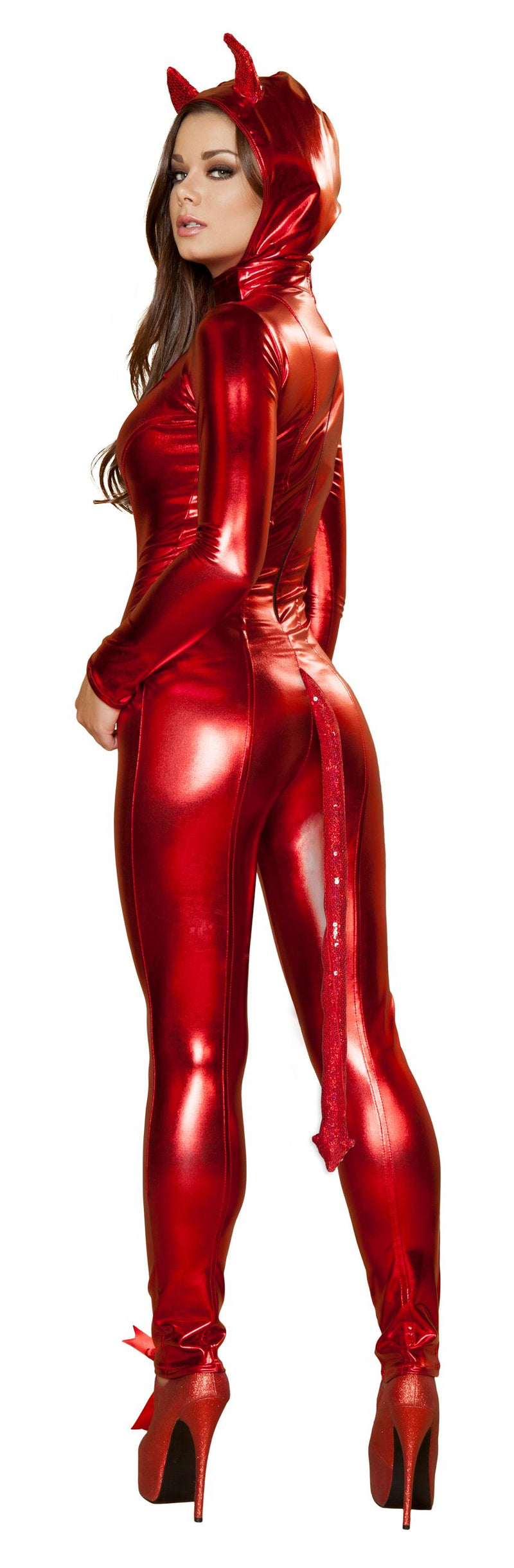 1 Piece Sexy Red Hot Devil Long Sleeve Jumpsuit Costume - Fest Threads