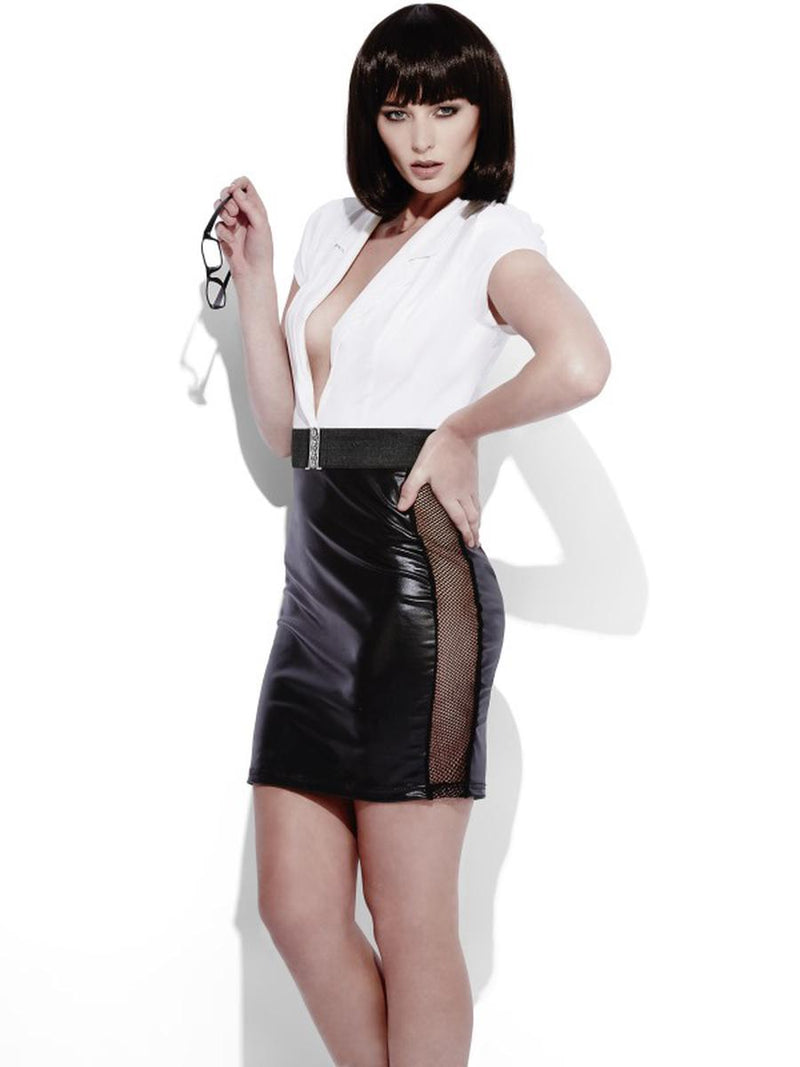 2-PC-Women's-Secretary-Assistant-Wet-Look-Black-&-White-Dress-w/-Belt-Costume