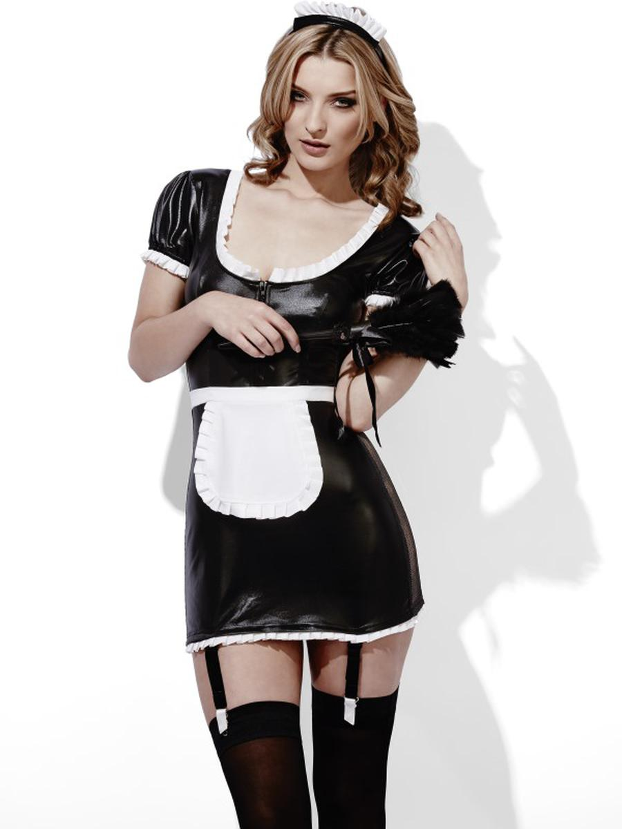 2-PC-Women's-French-Maid-Role-Play-Wet-Look-Mini-Dress-&-Headpiece-Party-Costume