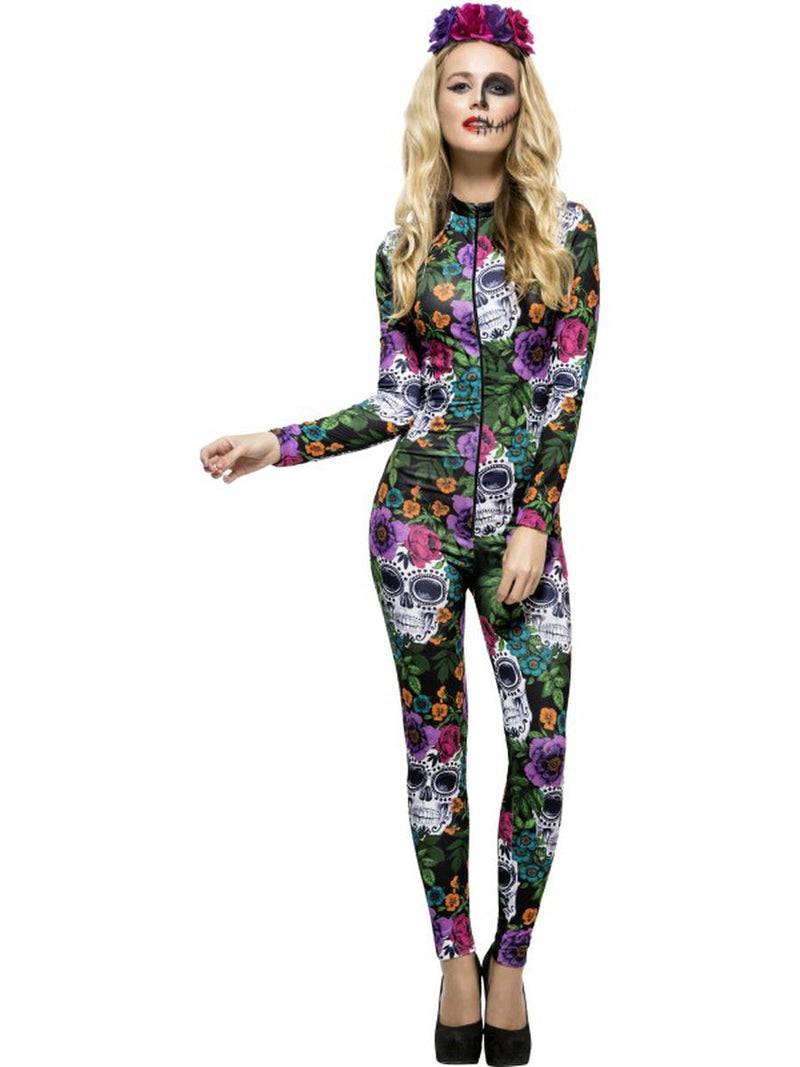 2-PC-Sugar-Skull-Print-Body-Suit-w/-Rose-Headband-Day-of-the-Dead-Party-Costume