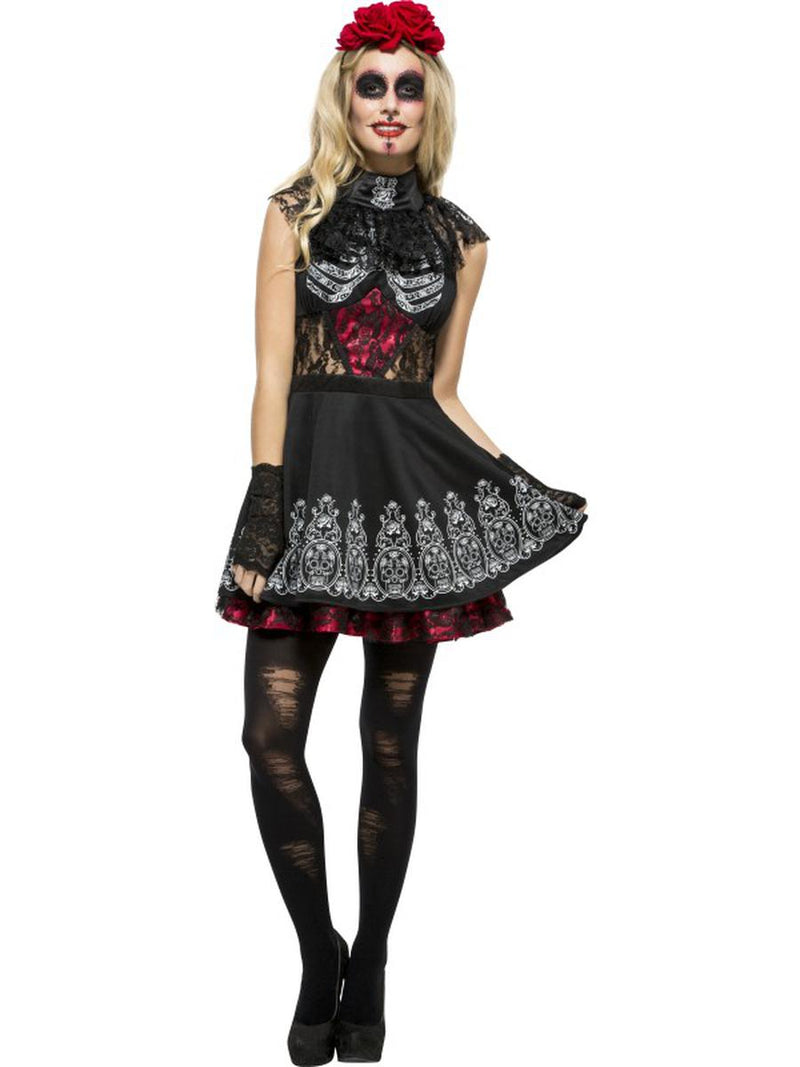2-PC-Sugar-Skull-Day-of-the-Dead-Partial-Lace-Dress-w/-Rose-Headband-Costume