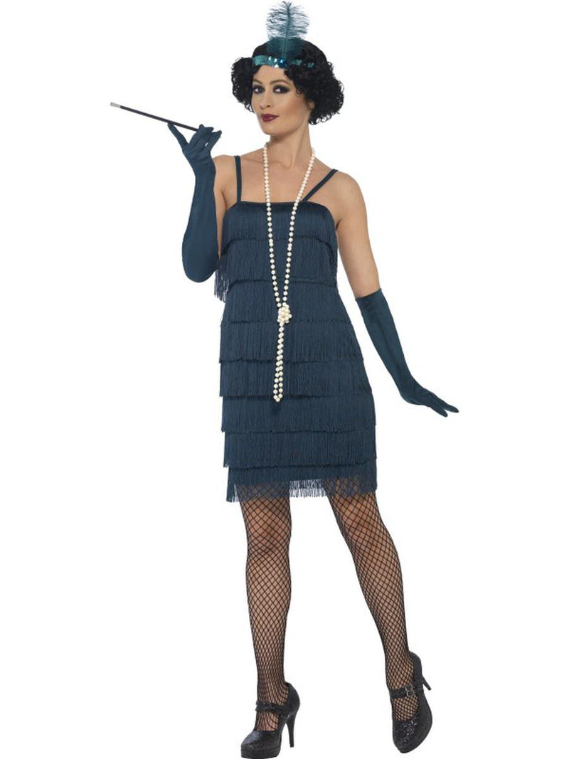 3-PC-1920s-Flapper-Gatsby-Girl-Teal-Fringe-Dress-&-Headband-w/-Gloves-Costume