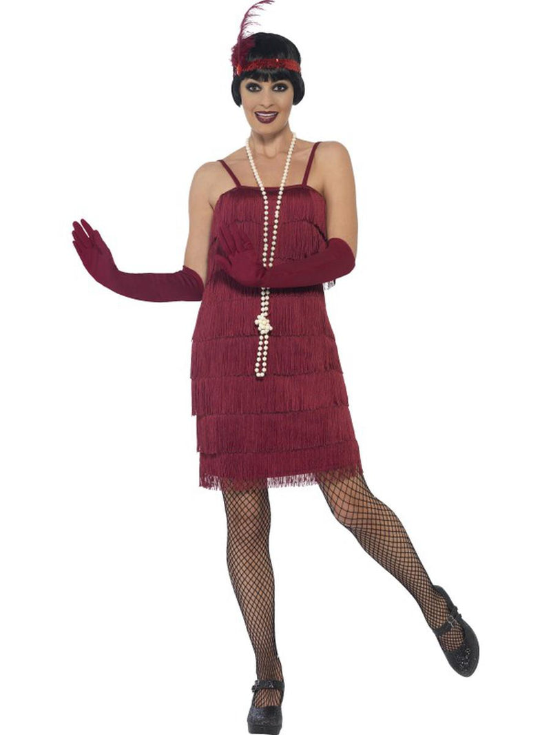 3-PC-1920s-Flapper-Gatsby-Girl-Burgundy-Dress-&-Headband-w/-Gloves-Costume