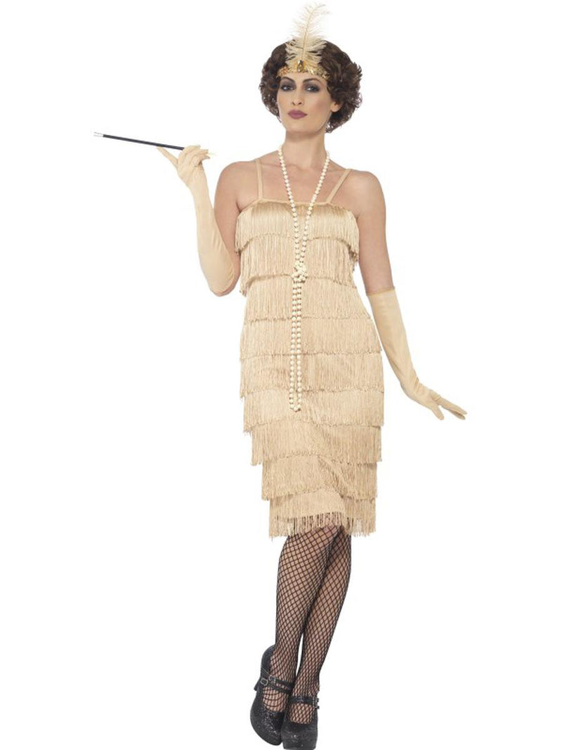 3-PC-1920s-Flapper-Gatsby-Girl-Light-Gold-Fringe-Dress-w/-Accessories-Costume-