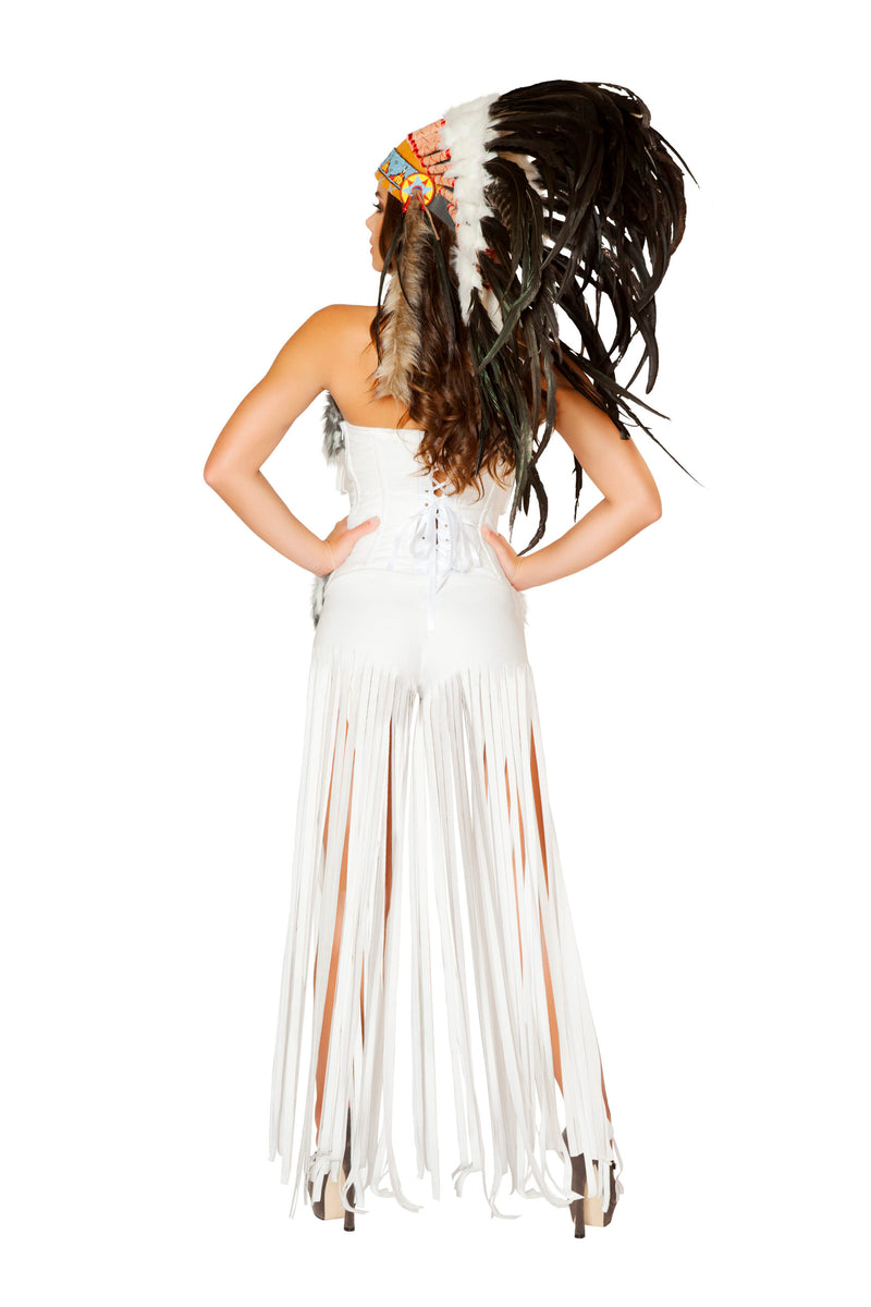2 Piece Indian Princess Fringe Fur White Dress Costume - Fest Threads