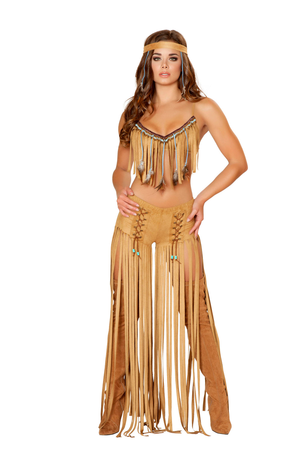 3-Piece-Indian-Princess-Fringe-Tan-Dress-Costume