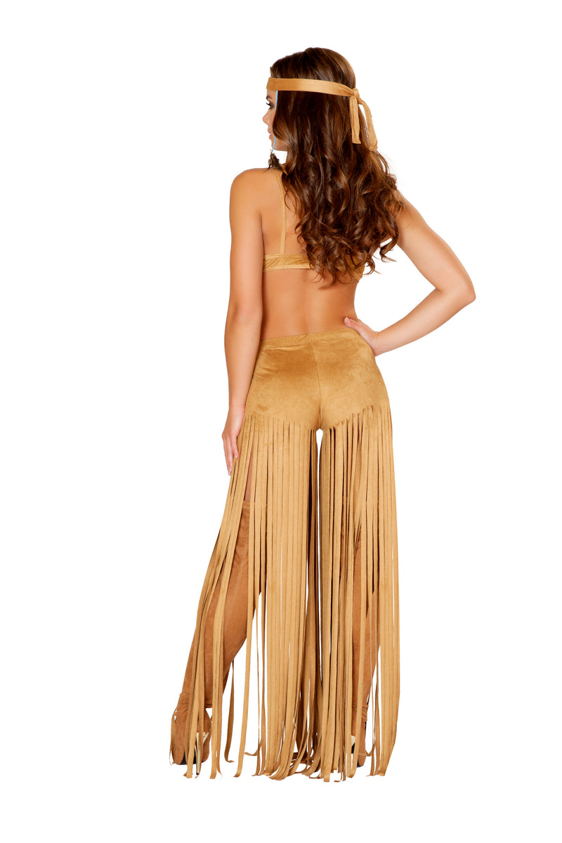 3 Piece Indian Princess Fringe Tan Dress Costume - Fest Threads