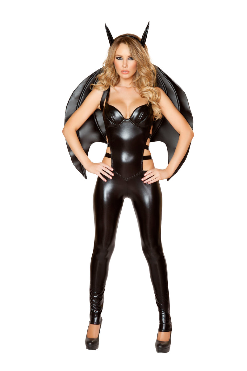 2-Piece-Miss-Batman-Bat-Girl-Superhero-Woman-Black-Jumpsuit-Costume