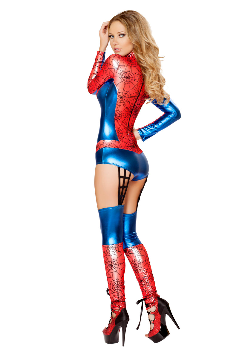 1 Piece Miss Spiderman Superhero Red & Blue Jumpsuit Costume - Fest Threads