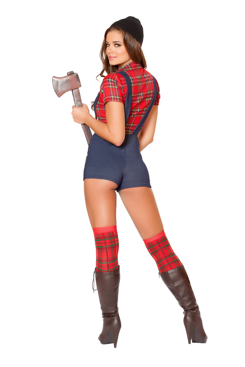 4 Piece Sexy Miss Lumberjack Plaid Top & Suspender Shorts Costume