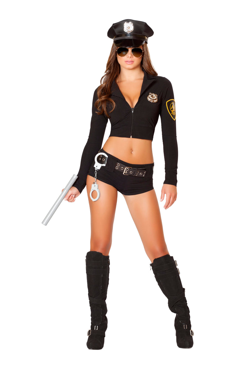 7-Piece-Police-Officer-Cop-Crop-Top-&-Shorts-w/-Accessories-Party-Costume