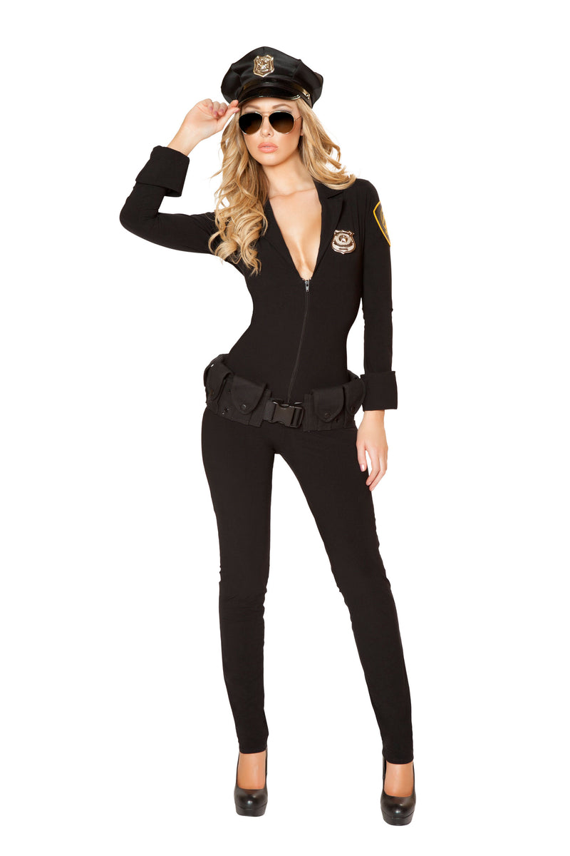 3-Piece-Police-Officer-Cop-Black-Jumpsuit-w/-Accessories-Party-Costume