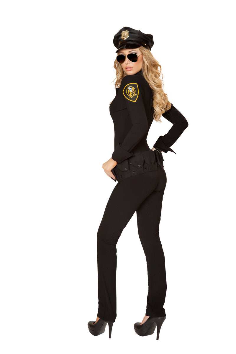 3 Piece Police Officer Cop Black Jumpsuit w/ Accessories Party Costume - Fest Threads