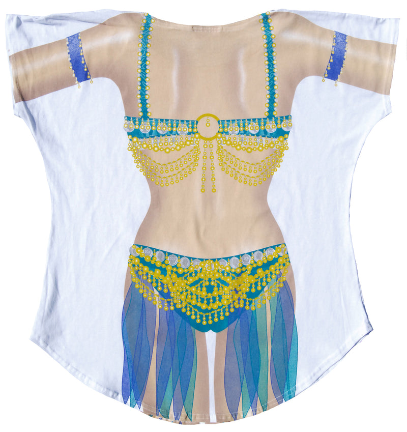 Women's Junior's Belly Dancer Moroccan Beach Party Shirt Swimwear - Fest Threads