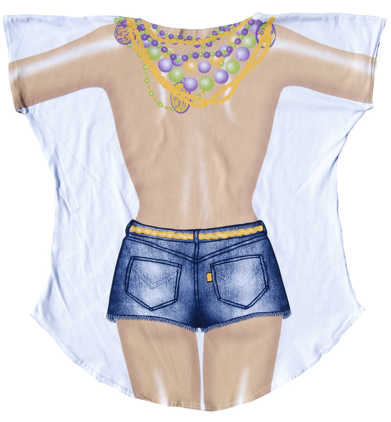 Women's Junior's Mardi Gras Summer Beach Party Shirt Swimwear - Fest Threads