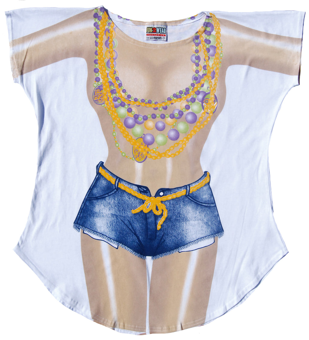 Women's-Junior's-Mardi-Gras-Summer-Beach-Party-Shirt-Swimwear
