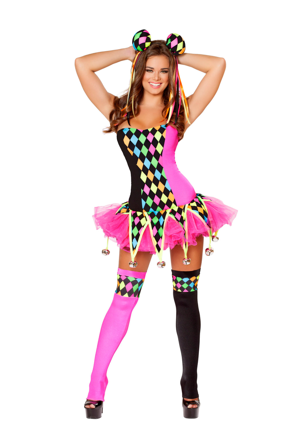 3-Piece-Court-Jester-Circus-Clown-Polka-Dot-Body-Suit-&-Tutu-Costume