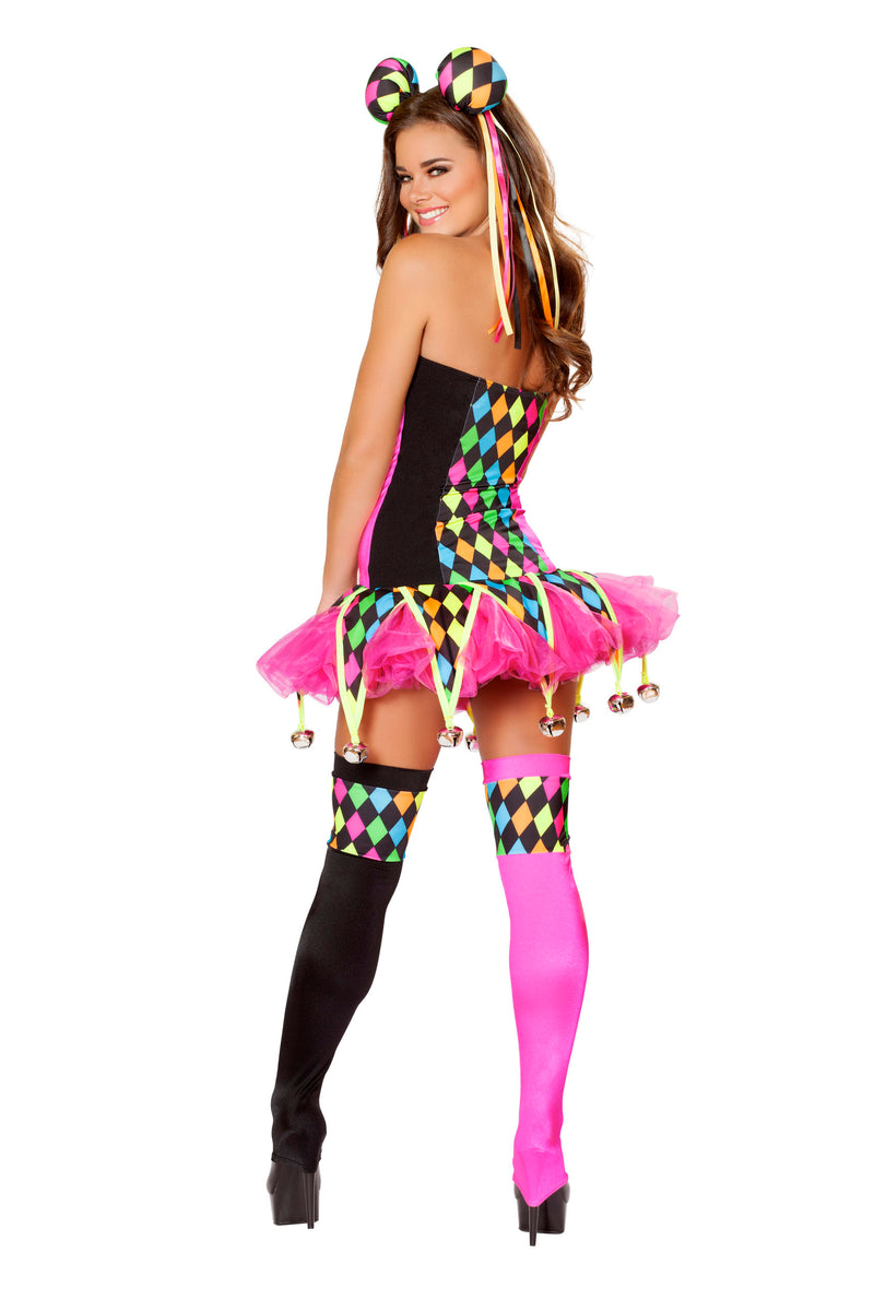 3 Piece Court Jester Circus Clown Polka Dot Body Suit & Tutu Costume - Fest Threads